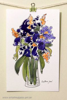 """Stunning! Watercolor painting original 6x10"""" floral still life blue orchids modern impressionist fine art by @cristinajaco"""