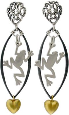 Silver Frog Charm Earrings. You can make these! Click here for materials http://www.ninadesigns.com/jewelry_design_ideas/silver_frog_charms.html