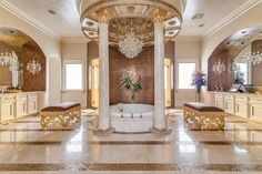 I guess it's true, everything really is bigger in Texas! Check out this spectacular bathroom in a lovely home in Texas.  #marble #cremamarfil #floortiles #walltiles #floortile #walltile #tile #tiles #marbletile #interiordesign #designthinking #homeimprovement #homeremodel #bathroomremodel #bathroom #bathroomfloor #fixerupper #wow #design
