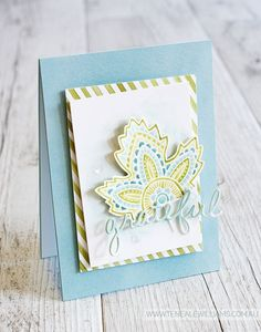 By Teneale Williams | Stampin' Up! Lighthearted Leaves | White embossed on Shimmer cardstock the Watercolord with Blender Pen