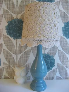 Crochet Lamp from Dottie Angel with a cream lamp base. Painting Lamp Shades, Painting Lamps, Lampshade Chandelier, Lampshades, Crochet Lampshade, Diy Craft Projects, Diy Crafts, Dottie Angel, Doilies Crafts