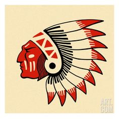 Profile of an Indian Chief Art Print by Pop Ink - CSA Images at Art.com