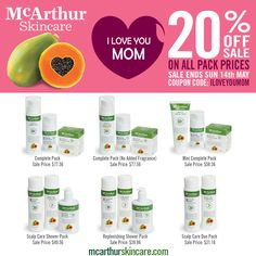 McArthur Skincare Mother's Day 2017 Spoil mum this Mother's Day with a collection of natural skincare products. Save 20% OFF all Pack Prices Use Coupon Code: ILOVEYOUMOM at checkout in our online store. This offer is not available in conjunction with any other offer. Sale offer expires Midnight (AWST) Sunday 14th May, 2017. http://mcarthurskincare.com/products/?pcat=packs