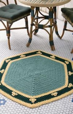 FREE CROCHET RUG PATTERN-Easy Hexigon Rug- I would choose different colors of course but this has potential. I see a striped rug in my future! Tapete Doily, Doily Rug, Crochet Doilies, Crochet Rugs, Crochet Stitches, Crochet Home Decor, Crochet Crafts, Crochet Projects, Craft Projects