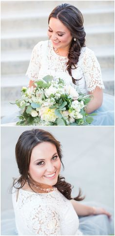 Fishtail braid, relaxed bridal hairdo, casual wedding hairstyle // Michele with one L Photography