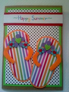 Handmade summer card happy summer flip flops  thinking of you/ hi there/ all occasion/ friend/  thank you/  rainbow poka dot greeting card