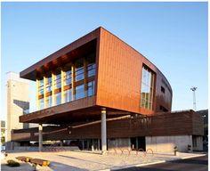 Brick color metal panels - Bergen fire station design by Stein Halvorsen Architects
