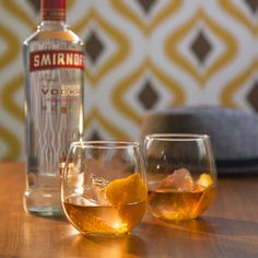 VODKA OLD FASHIONED. This classic 1960's drink is delicious at cocktail parties. Ingredients: Just mix 1.5oz Smirnoff Vodka, Dash of Simple Syrup, Dash of Bitters, Orange Zest.