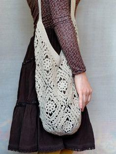 Beige Tote Bag - Shoulder Crochet Squares Beach Tote Bag - Crochet Linen Market Bag - Women's Boho Crochet Lace Beach Bag - ItWasYarn Bags