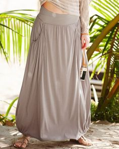 """""""Favorite Maxi Knit Skirt"""" from Garnet Hill... It has POCKETS!!  But @ $88, I'd have to have an AMAZING coupon :/"""
