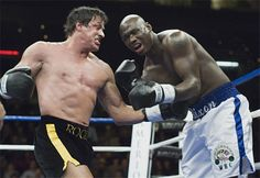 """The exhibition match of the sports/drama movie Rocky Balboa """"Yo Adrian,we did it. Rocky Sylvester Stallone, Stallone Rocky, Rocky Series, Rocky Film, Rocky Balboa 2006, Training Montage, Boxing Images, Silvester Stallone, Mickey Love"""