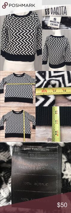 💌Sz Small BB Dakota Chevron 3/4 Cropped Sweater Measurements are in photos. Normal wash wear, has slight fuzziness, no other flaws. D2/33  I do not comment to my buyers after purchases, due to their privacy. If you would like any reassurance after your purchase that I did receive your order, please feel free to comment on the listing and I will promptly respond.   I ship everyday and I always package safely. Thank you for shopping my closet! BB Dakota Sweaters Crew & Scoop Necks
