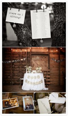 Love the seating list (on a bulletin board instead, though) and the banner on the sweetheart table