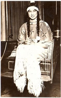 SIOUX Woman, c.1930. Real Photo Postcard edited c.1925 - 1940s.