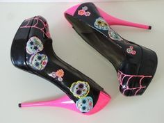 Image result for Iron fist day of dead platform high heels with flowers