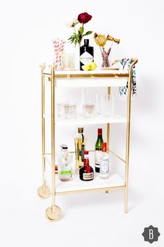 Hack Your Way To The Ultimate Bar Cart In 5 Easy Steps Discover more relevant information on gold bar cart target. Have a look at our site. The post Hack Your Way To The Ultimate Bar Cart In 5 Easy Steps appeared first on Wohnaccessoires. Ikea Bar Cart, Diy Bar Cart, Gold Bar Cart, Bar Cart Decor, Bar Carts, Bandeja Bar, Home Bar Decor, Pub Set, Bar Furniture