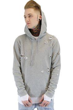 Distressed Cut Hoodie | Grey