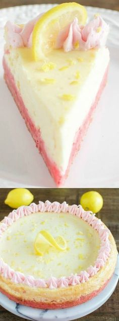 Lemonade Cheesecake with Strawberry Crust