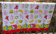 Vintage Retro Fruit Cotton Tablecloth . Banana  . by LeafandLane