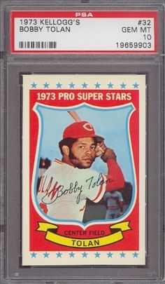 1973 Kellogg's #32 Bobby Tolan Reds PSA 10 by Kellogg's. $12.25. 1973 Kellogg's #32 Bobby Tolan Reds PSA 10. If multiple items appear in the image, the item you are purchasing is the one described in the title.