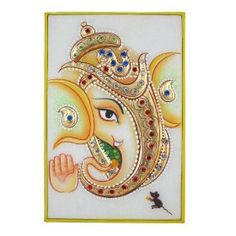 Ganesha Hindu Art from India Embossed Miniature Painting on Marble Plate