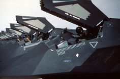 """toocatsoriginals: """" Nighthawks of the Tactical Fighter Wing line up on the Nellis AFB flight line on returning from Saudi Arabia after Operation Desert Storm - Photo: US Air Force. Stealth Aircraft, Stealth Bomber, Fighter Aircraft, Fighter Jets, Space Fighter, Airplane Fighter, Air Fighter, Military Jets, Military Aircraft"""