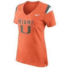Nike Miami Hurricanes Ladies Fan Top V-Neck T-Shirt - Orange, $34.95