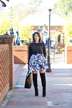 floral skirt and boo