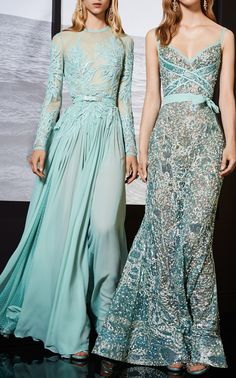 Elie Saab Resort 2018 Collection Photos (Macramé Long Sleeve Gown & Bead Embroidered Gown)