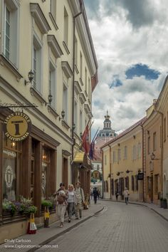Street in Vilnius, Lithuania's Old Town - http://explorationvacation.net/2016/08/touring-vilnius-lithuania-on-foot/