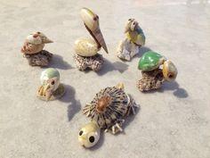 Seashell Animals Pelican Turtle Shorebird by CobaltCatMiniatures