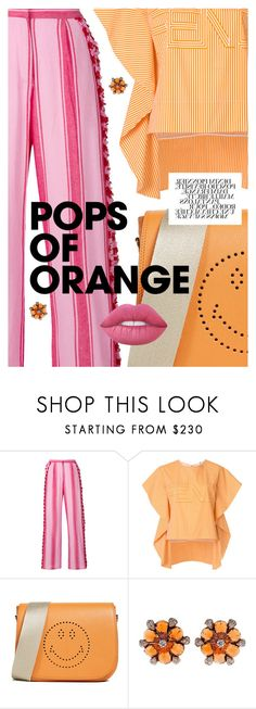 """Dreamsicle: Pops Of Orange"" by cultofsharon ❤ liked on Polyvore featuring Dodo Bar Or, Fendi, Anya Hindmarch and Lime Crime"