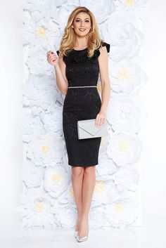 StarShinerS black elegant pencil dress with cut back cloth from elastic fabric, accessorized with belt, cut back, with ruffle details, sleeveless, form-fitting, elastic fabric