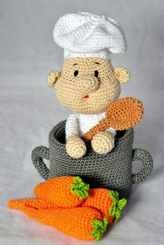 crochet pattern, english or german, cook Artur Crochet Food, Crochet Crafts, Crochet Projects, Crochet Baby, Knit Crochet, Crochet Stitches, Crochet Amigurumi Free Patterns, Crochet Dolls, Knitting Patterns