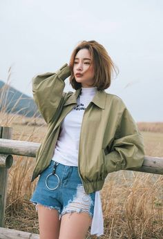 White top, short jeans and olive jacket - ladystyle short hair korean style, korean Long To Short Hair, Girl Short Hair, Short Girls, Short Hair Styles, Short Hair Korean Style, Korean Short Hairstyle, Haircut Short, Long Hairstyle, Short Hair Outfits