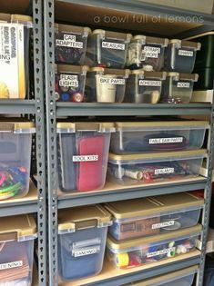 Organized garage using well measured labelled clear bins. Organized garage using well measured labelled clear bins. Storage Shed Organization, Garage Organisation, Storage Hacks, Organized Garage, Tool Storage, Workshop Organization, How To Organize Garage, Storage Room Ideas, Cabinet Storage