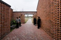 Three Courtyard Community centre, Yangzhou, China by AZL ARCHITECTS: love the texture and the organization of the 3 similar shapes Brick Courtyard, Brick Facade, Detail Architecture, Brick Architecture, Brick Design, Facade Design, Wall Design, Modern Brick House, Brick Houses