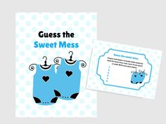 Twins Baby Sweet Mess game, Name that poo, Dirty Diaper Baby Shower, Printable baby shower Game, Activity, Twins Baby Shower Games, FREE printable Games