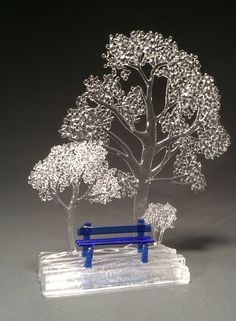 Playful & beautiful art glass trees by glass artist France Grice