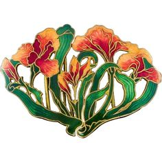 A work of art. Subtle shades of carnelian red to amber orange blend beautifully on the leaves of these iris flowers, with deep emerald green