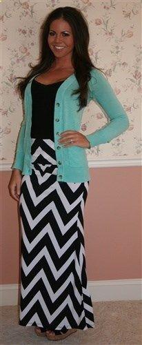 Chevron Maxi Skirt, Maxi Dress, Modest Skirt.  I love it with the color pop cardi