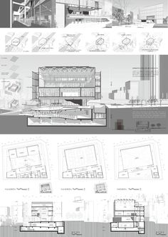 Concept Board Architecture, Section Drawing Architecture, Architecture Presentation Board, Architecture Panel, Architecture Visualization, Architecture Portfolio, Auditorium Architecture, Urban Design Concept, Interior Design Presentation