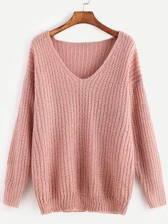 42e43b7c04f6 Pink Ribbed Knit V Neck Drop Shoulder Sweater -SheIn(Sheinside) Ribbed  Sweater