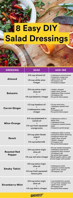 Just follow these no-fail formulas. #salad #dressing #recipes http://greatist.com/eat/salad-dressing-recipes-to-make-at-home