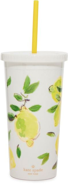 Kate Spade Lemon Tumbler with Straw