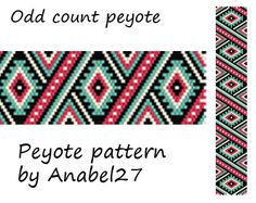 Ethnic style peyote pattern bracelet pattern by Anabel27shop,