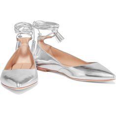 Loeffler Randall Metallic leather point-toe flats (£150) ❤ liked on Polyvore featuring shoes, flats, loeffler randall flats, metallic flat shoes, tie shoes, narrow shoes and leather pointed toe flats