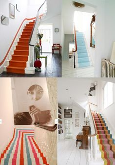 Choosing a fun paint treatment for the basement staircase.