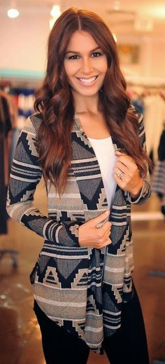 Aztec cardigan plus black jeans and white blouse
