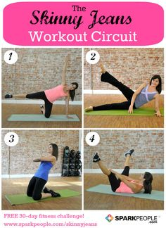 The 6-Minute Skinny Jeans Workout. Love this circuit workout--great for the hips, butt and thighs! | via @SparkPeople #workout #exercise #fitness #health #exercises #routine #homeworkout